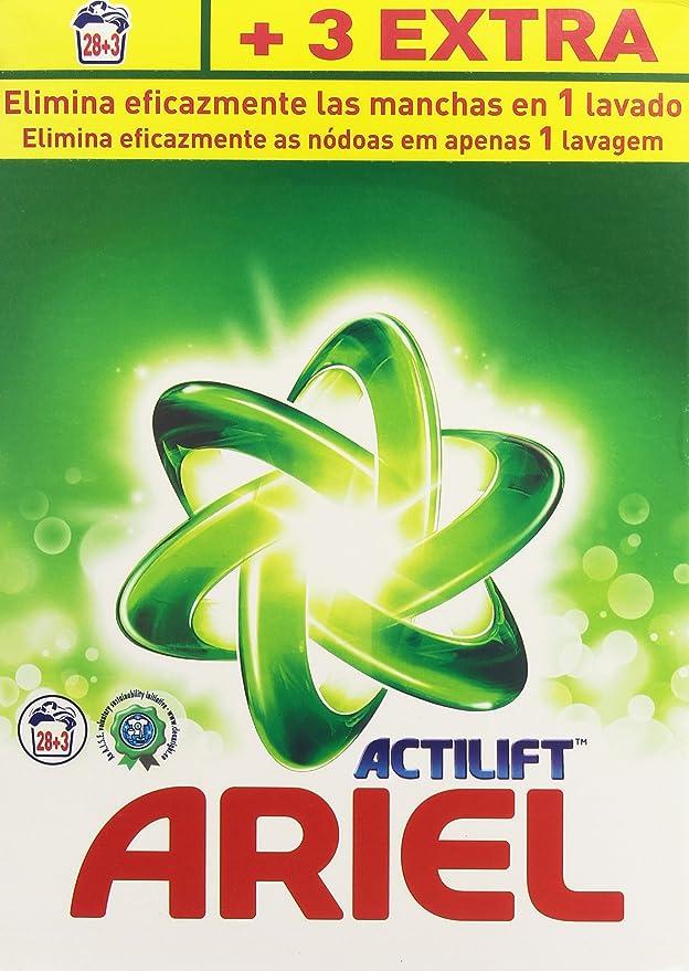 Ariel Actilift - Detergente para lavadora, 28+3 cazos, 2.015 kg - [pack de 2]