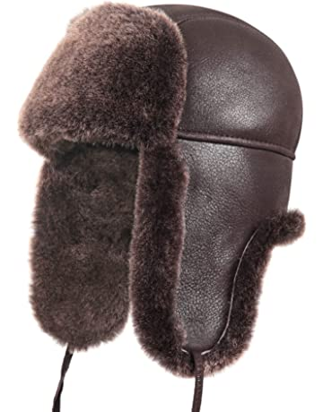 b5f62c1a811 Zavelio Unisex Shearling Sheepskin Leather Aviator Russian Ushanka Trapper  Winter Fur Hat