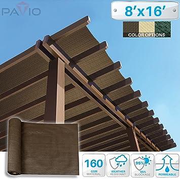 Patio Paradise 8u0027x16u0027 Sunblock Shade Cloth Roll,Brown Sun Shade Fabric 95