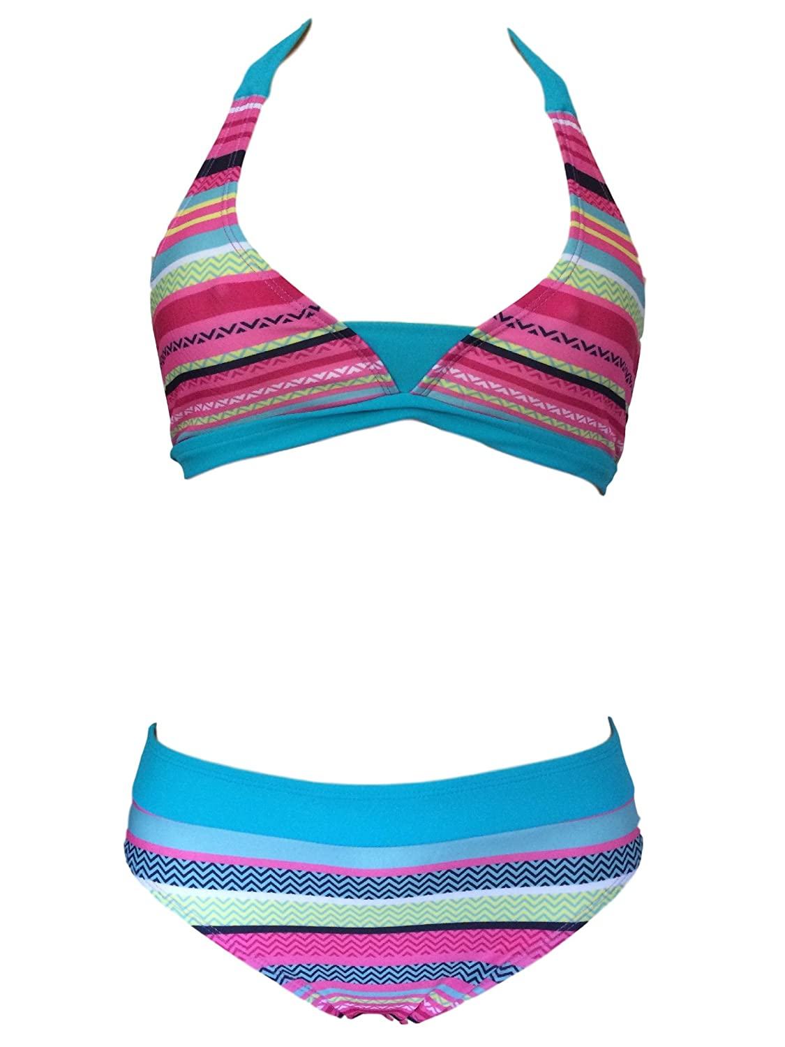 iDrawl Big Girls Kids Two Piece Tankini Set COCO Printed Halter Swimsuit V-neck Cute Sleeveless Swimming Costume for Age 6 to 14