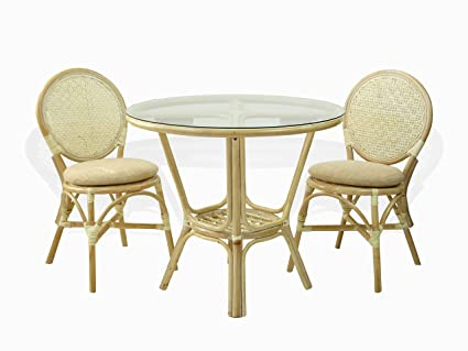 3 Pc Rattan Wicker Dining Set Round Table Glass Top+2 Denver Side Chairs.