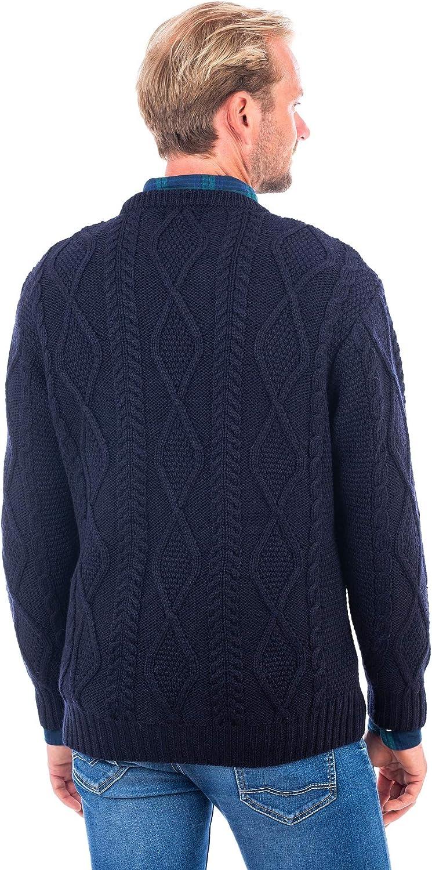 Irish Knitted Wool Men Fisherman Sweater Crew Neck Aran Pullover