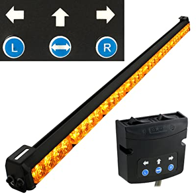 "LAMPHUS SolarBlast 36"" Amber LED Traffic Advisor Light Bar [SBTA84-AM] [TA Controller] [19 Flash Modes] [IP 67 Waterproof] Directional Yellow Flashing Emergency Safety Light Bar for Trucks Vehicles: Automotive"