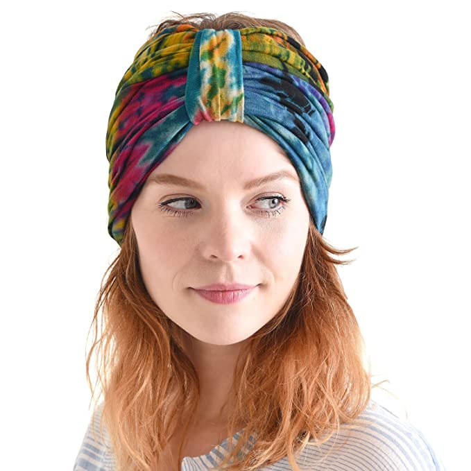 70s Jackets, Furs, Vests, Ponchos Hippie Turban Headwraps for Women - Boho Headbands Summer Wrap Knot Hair Band Head Scarf $19.99 AT vintagedancer.com