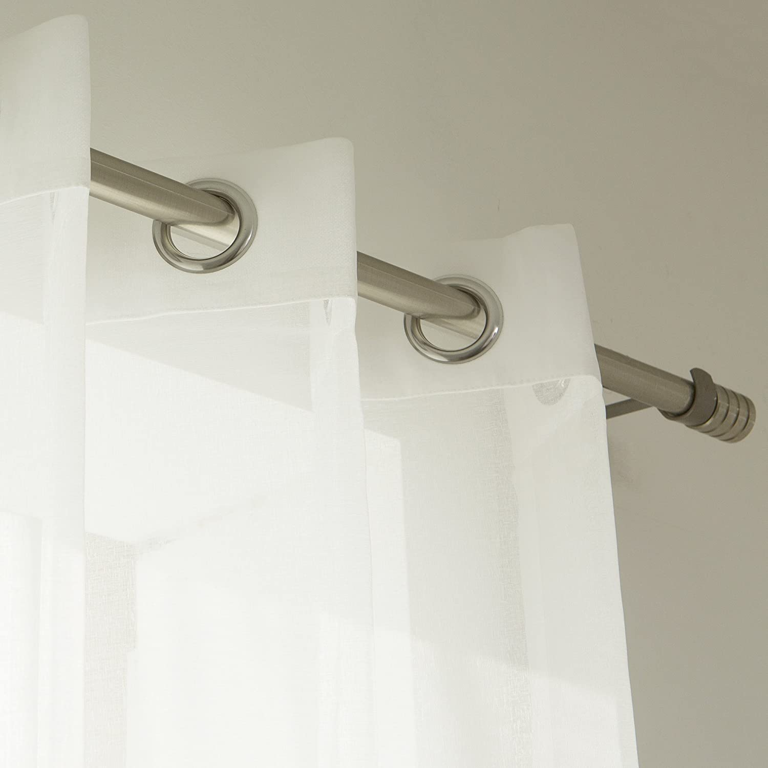 Best Home Fashion Muji Sheer Linen Look Curtains Stainless Steel Nickel Grommet Top White – 52 W x 84 L – Set of 2 Panels