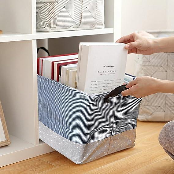 HUABEI Juego de 2 cesta de almacenaje plegable Tejido con asas Parfait de almacenaje para ropa, juguetes, toalla 48 * 33 * 27: Amazon.es: Hogar