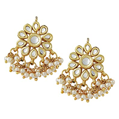 dbc22b52d Buy Jewellity Kundan Flower Golden White Pearl Designer Traditional Fusion Stud  Earrings for Women ERK-501 Online at Low Prices in India | Amazon Jewellery  ...