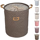 """DOKEHOM DKA0811BNL 19.7"""" Large Laundry Basket (Available 17.7"""" and 19.7""""), Drawstring Waterproof Round Cotton Linen Collapsible Storage Basket (Brown, L)"""
