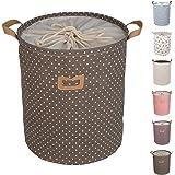 DOKEHOM DKA0811BN Round Drawstring Cotton Linen Collapsible Laundry Storage Basket (Brown)