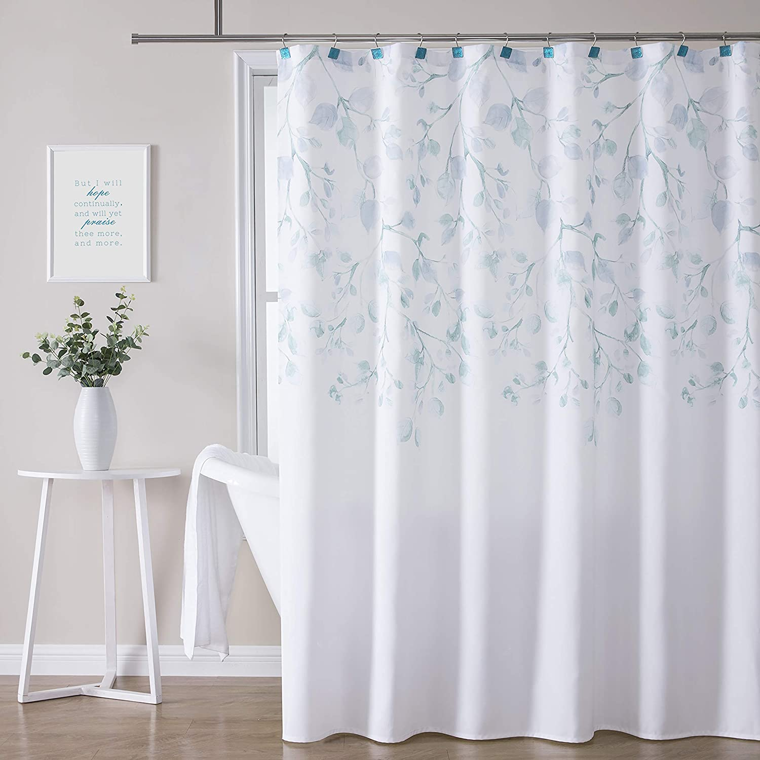 """Central Park Blue Leaf Shower Curtain Water Resistant Decorative Sweeping Floral Print Canvas Bathroom Spa Hotel Shower Curtain with Buttonholes (White, 70""""x84"""")"""