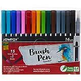 Caneta Ponta Pincel, Newpen, Brush Pen, Newpen, 15 Cores + 1 Blender, 16 unidades