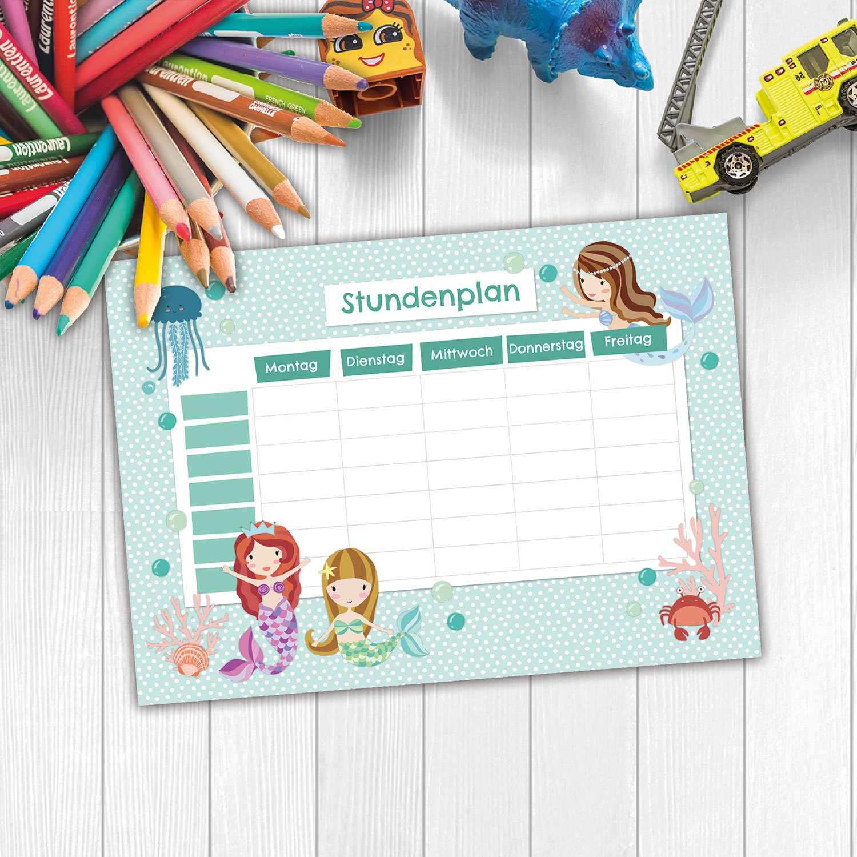 beschreibbar zum Aufh/ängen und f/ür ins Schulheft Terminkalender Wochenplan Papierdrachen Stundenplan Schule DIN A4 Block Motiv Meerestiere