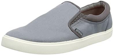 Mens Crocs Norlin Canvas Slip-on Sneakers Smoke/White OEK14195
