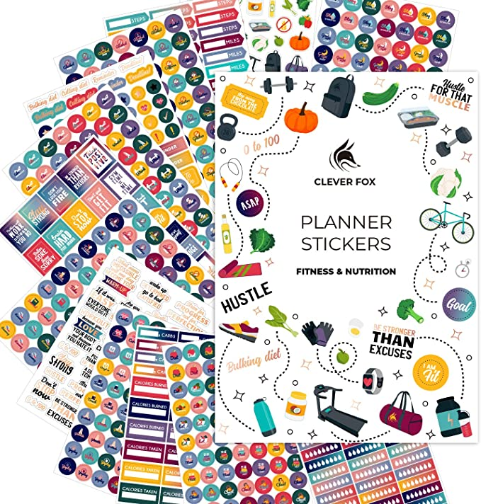 Amazon.com: Clever Fox Planner Fitness Stickers Set - Monthly, Weekly & Daily Planner Stickers 16 Sheets Set of 841+ Unique Stickers (Fitness & Nutrition): Office Products