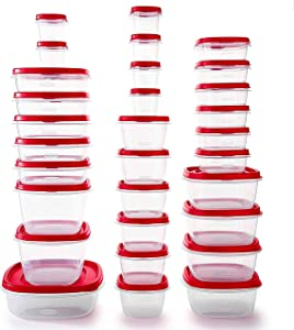Rubbermaid Easy Find Vented Lids BPA Free Plastic Food Storage Containers, Set of 30 (60 Pieces Total), Racer Red | Great for Meal Prep | Reusable & Stackable