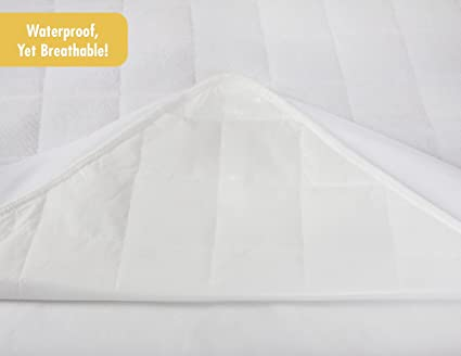 Waterproof Crib Mattress Protector Pad Cover - Ultra-Soft Bamboo, Fitted Sheet