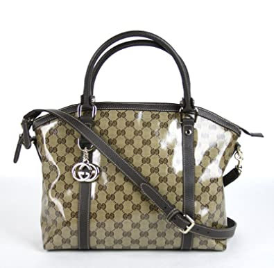 2d4110fa036 Gucci Crystal GG Canvas Convertible Leather Trim Dome Shoulder Bag 341503  9903