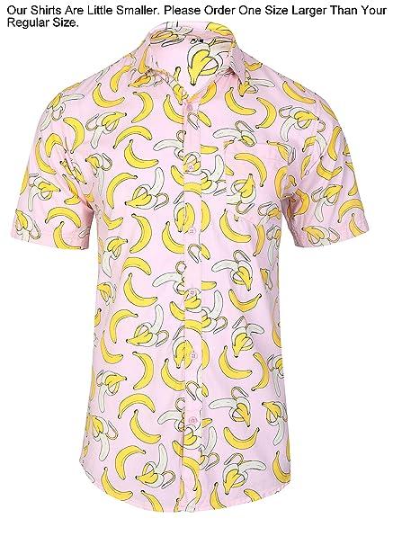 74d31264 Amazon.com: Men Short Sleeve Shirt Casual Hawaiian Aloha Tropical Summer  Flower Floral Leaf Party Beach Vacation Pink Yellow Banana Fruit: Clothing