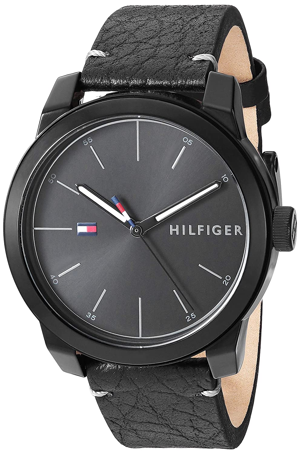 Tommy Hilfiger Mens Quartz Watch with Leather Calfskin Strap  Black  19 5  Model  1791384