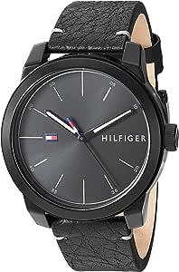 Tommy Hilfiger Men's Quartz Watch with Leather Calfskin Strap, Black, 20 (Model: 1791384)