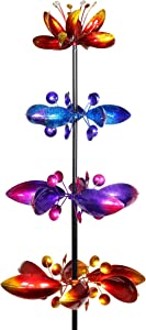Exhart Quadruple Lotus Flower Wind Spinners Garden Stake – 4 Metallic Flower Spinners in Colorful Red, Purple and Yellow Metal Design Spin - Yard Art Décor, 17 by 76 Inches