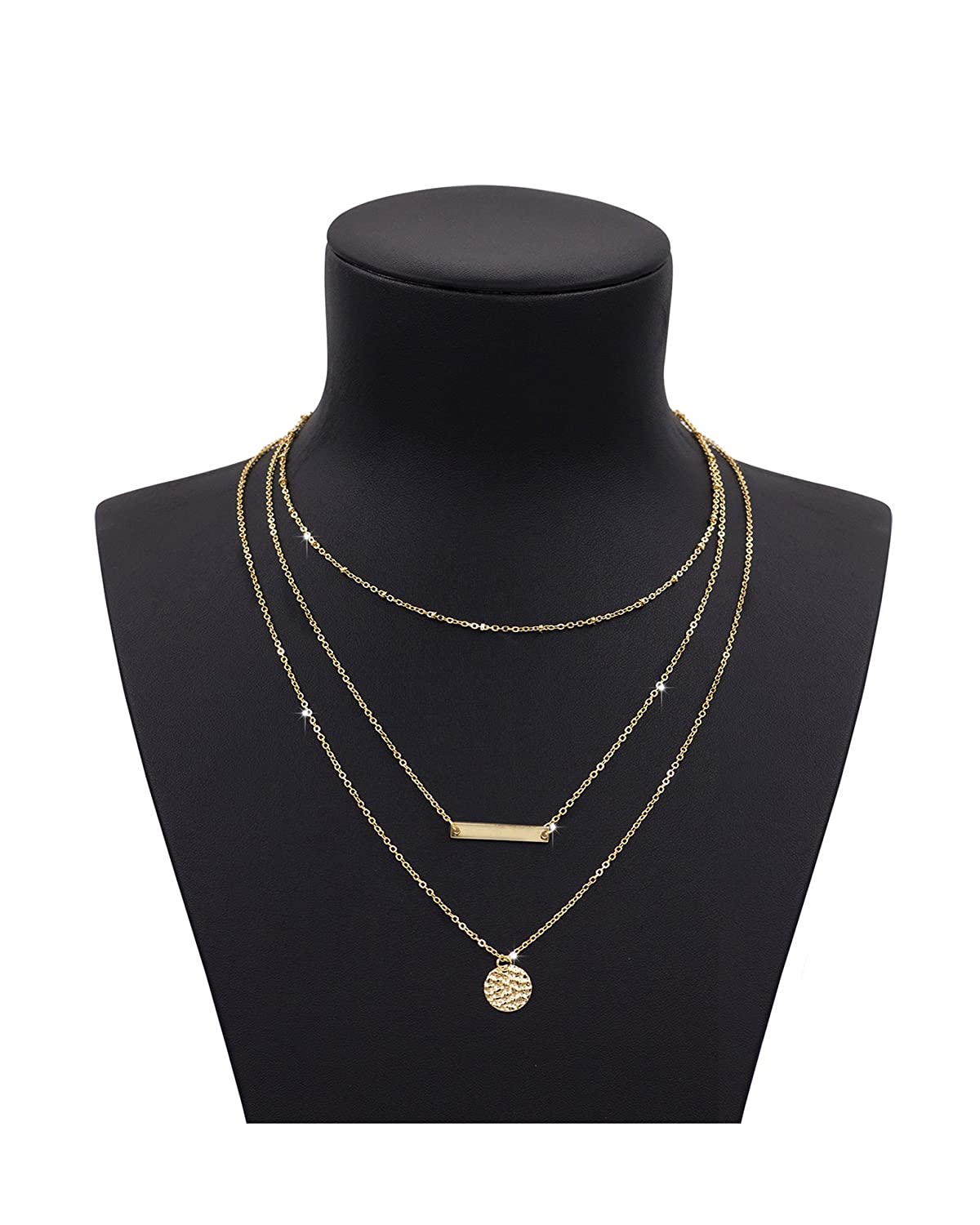 Zealmer Metal Ring Stick Bar Pendant Necklace Charming Sequin Thin Chain for Girls Women C119US-Gold