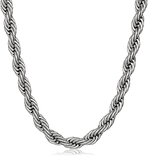 Amazon.com: Acero inoxidable Cuerda collar de cadena de los ...