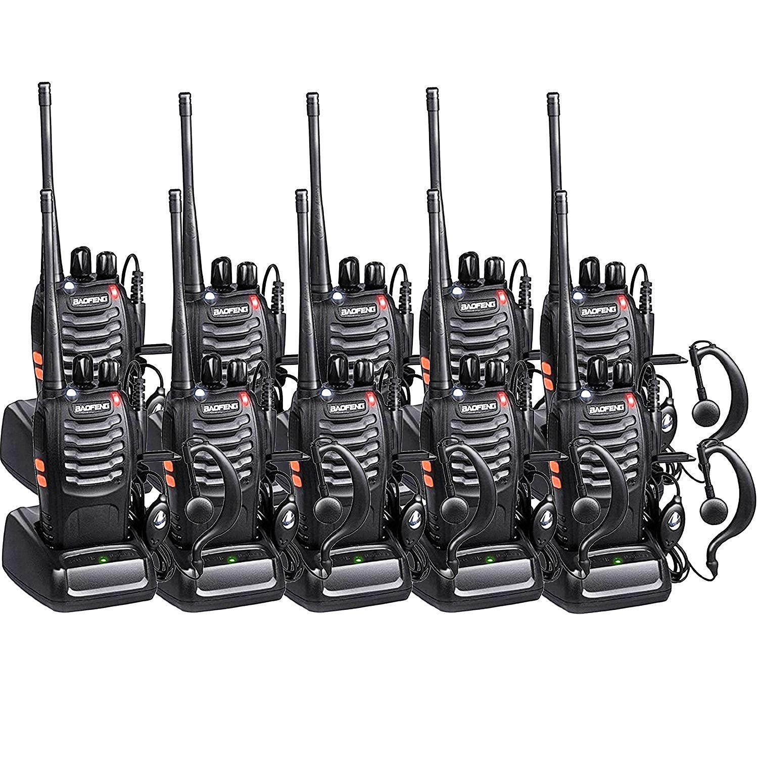 Baofeng Walkie Talkies BF-888s Radios Long Range with Earpiece Mic 5W 2 Way Radio UHF Two Way Radio Handheld Reachargeble Ham Transceiver with Antenna Headsets Microphone 10 Pack