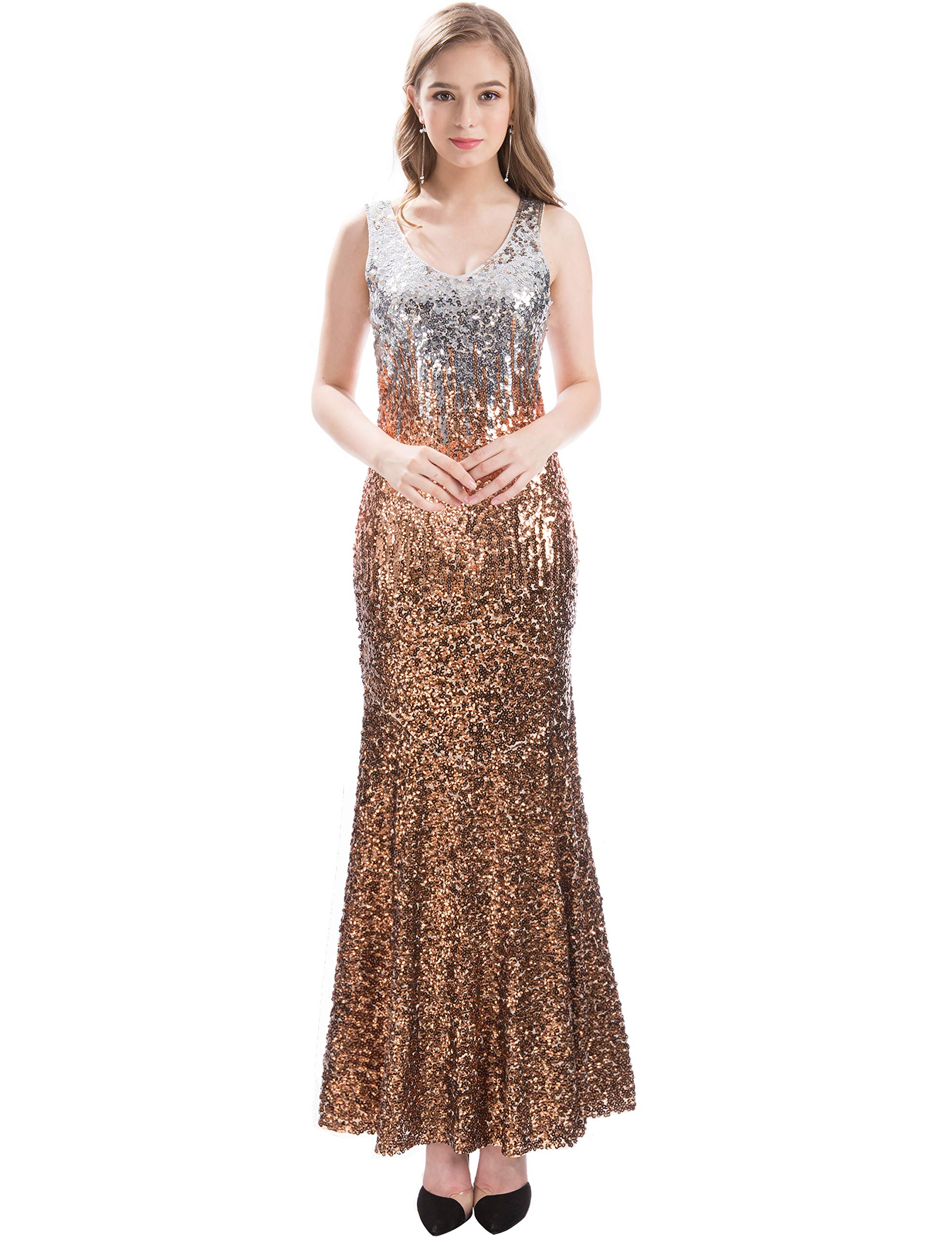 MANER Women V Neck Sequin Long Dress Sleeveless Evening Prom Mermaid Gowns (Silver/Rose Gold/Brown, XL) by MANER
