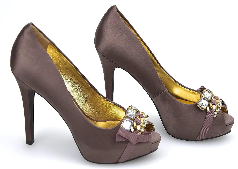 Guess Damen HIGH Heels PEEP Toe Toe Toe Pumps Schuhe SCHWARZ BRAUN Satin FL3SA2SAT07 35 braun - braun e122ae