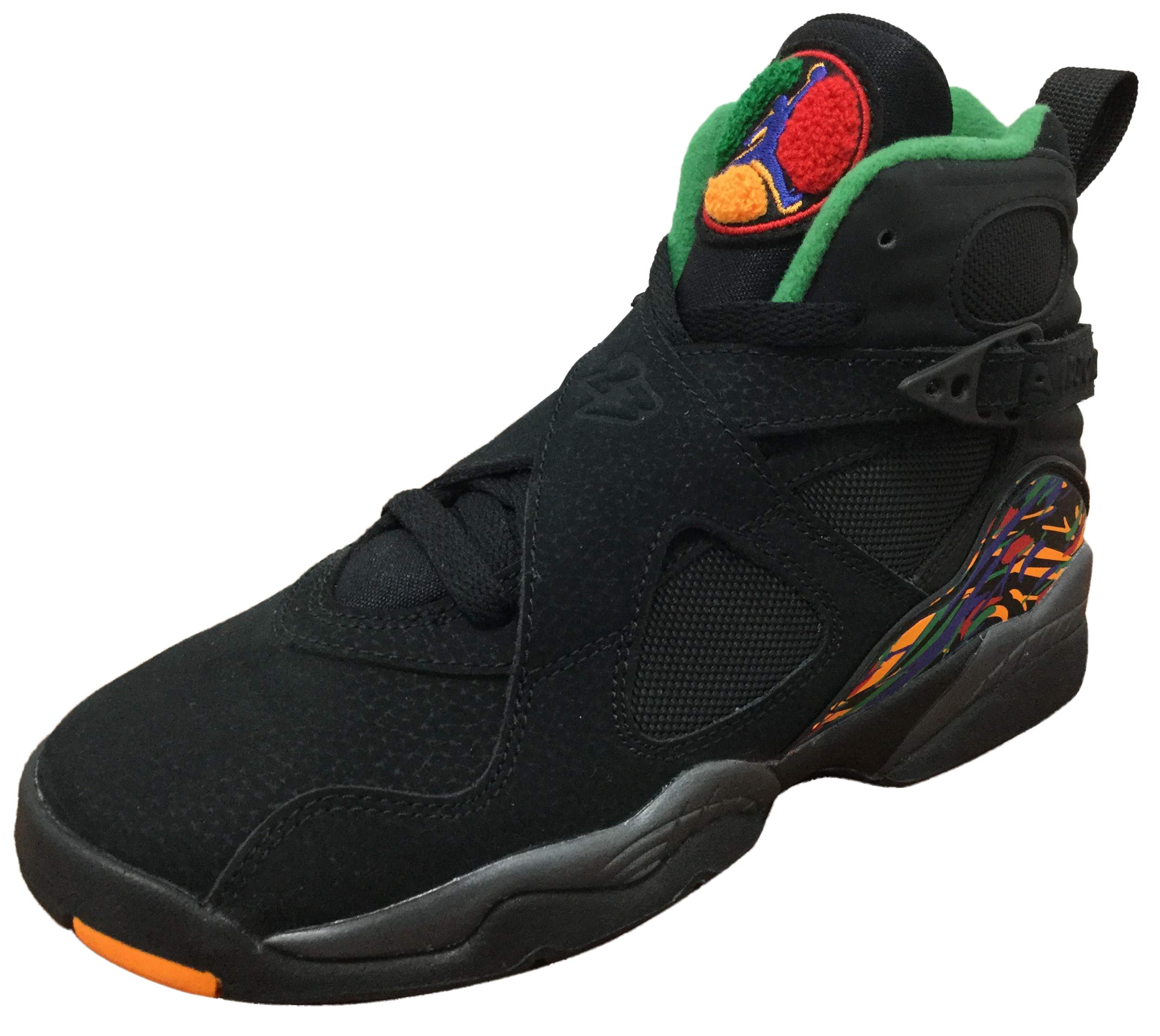 Air Jordan 8 Retro Big Kids' Shoes Black/Light Concord/Aloe Verde 305368-004 (4 M US)