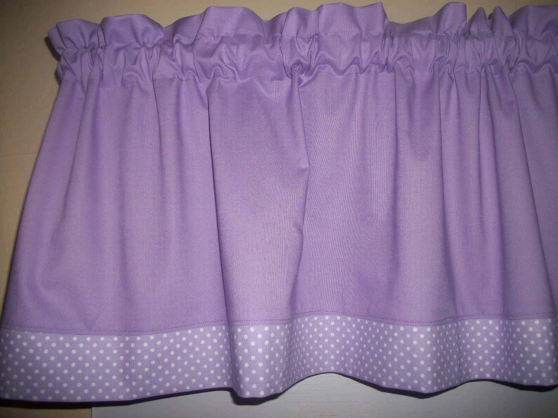 Solid Lavender Polka Dot purple fabric decor window curtain topper Valance
