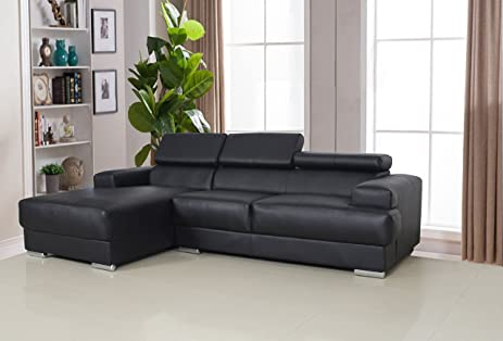 US Pride Furniture Gabriel Black Leather Contemporary Facing-Left Chaise Sectional Sofa Set : leather chaise couch - Sectionals, Sofas & Couches