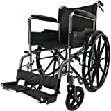 D PRO T MAG Wheels Luxury Lightweight Folding Self Propelled Wheelchair Attendant Running Brakes Removable Footrests Puncture Proof With Armrest And Portable (Grey)