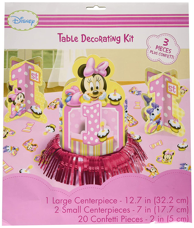 amscan Minnie Mouse 1st de cumpleaños Mesa Kit de decoración ...
