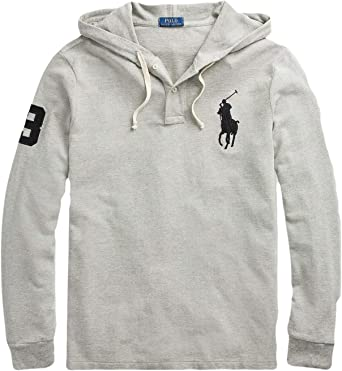 NWT RALPH LAUREN YOUTH BOYS LONG SLEEVES FLEECE HOODIE//PULL OVER GRAY