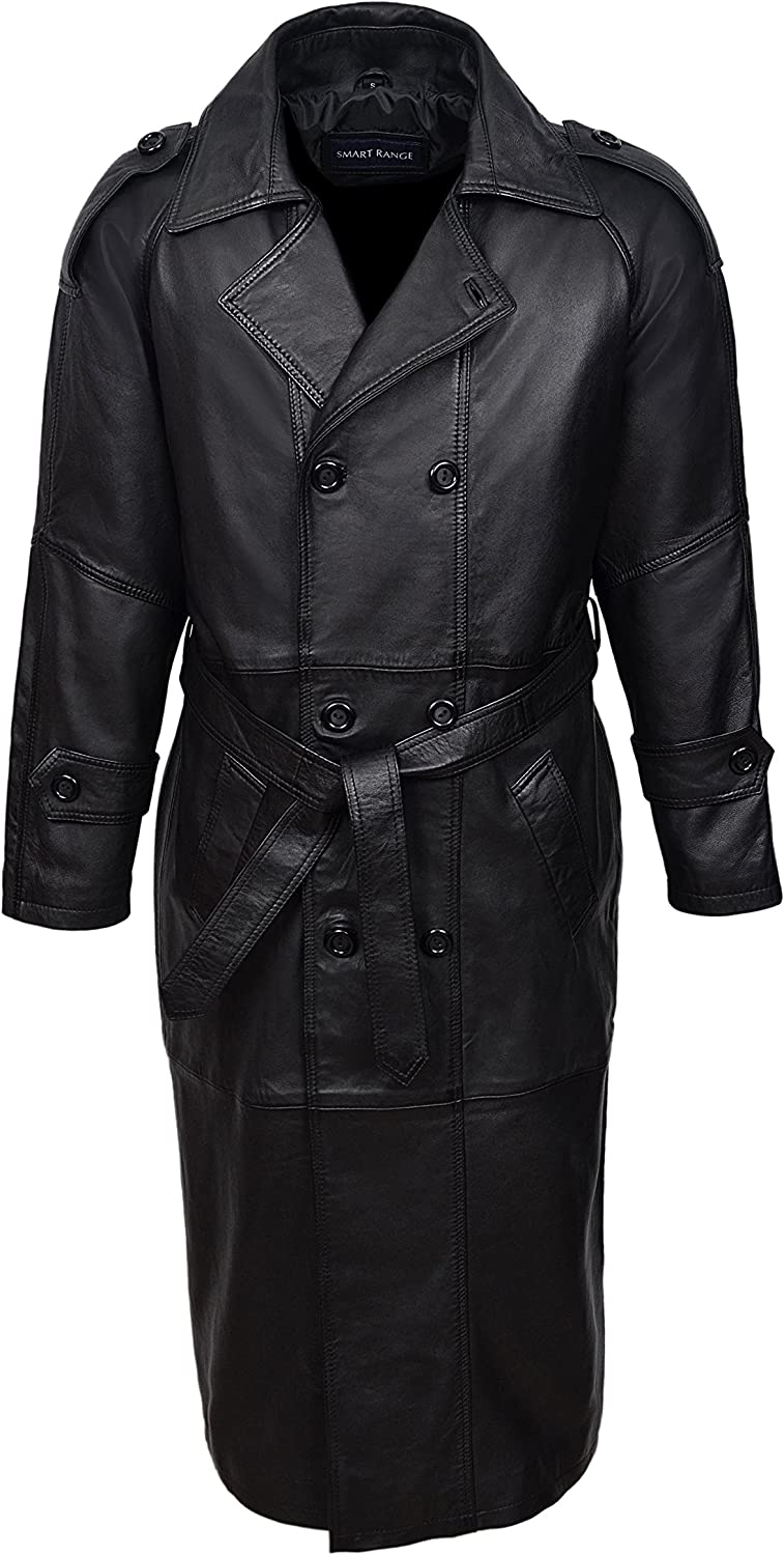 Womens Gothic Long Black Leather Coat Full Length Double Breasted Trench Jacket 2020