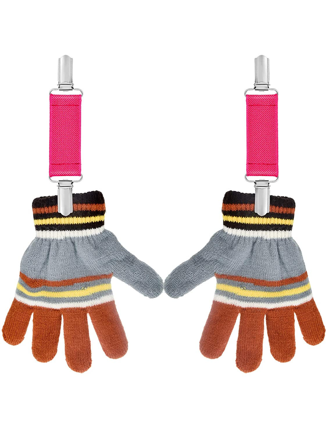 Chengu Elastic Long Mitten Clips and Short Gloves Clips Hat Clips for Baby Toddler Kids Daily Supplies 4 Pieces Totally