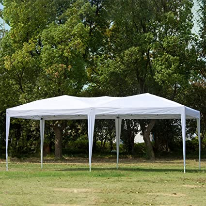 CharaHome 10 x 20 Canopy Tent Pop Up Portable Shade Instant Heavy Duty  Outdoor Gazebo White Canopy Tent with Carry Bag for Outdoor Party Wedding