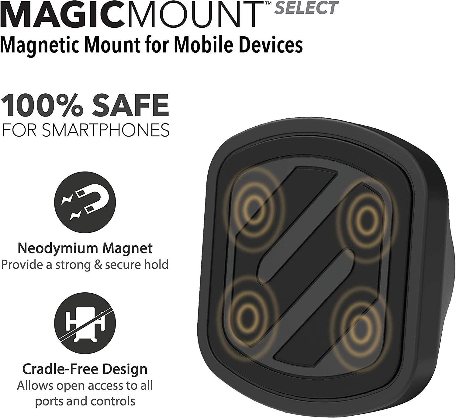 Magnetic Mount for Mobile Devices Black Car Mounts Scosche MAGVM2 MagicMount Vent