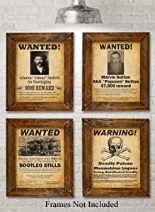 Bootleggers Wanted Posters - Set of Four Photos (8x10) Unframed - Makes a Great Gift Under $20 for Home Brewers, Home Bars or Man Cave Decor