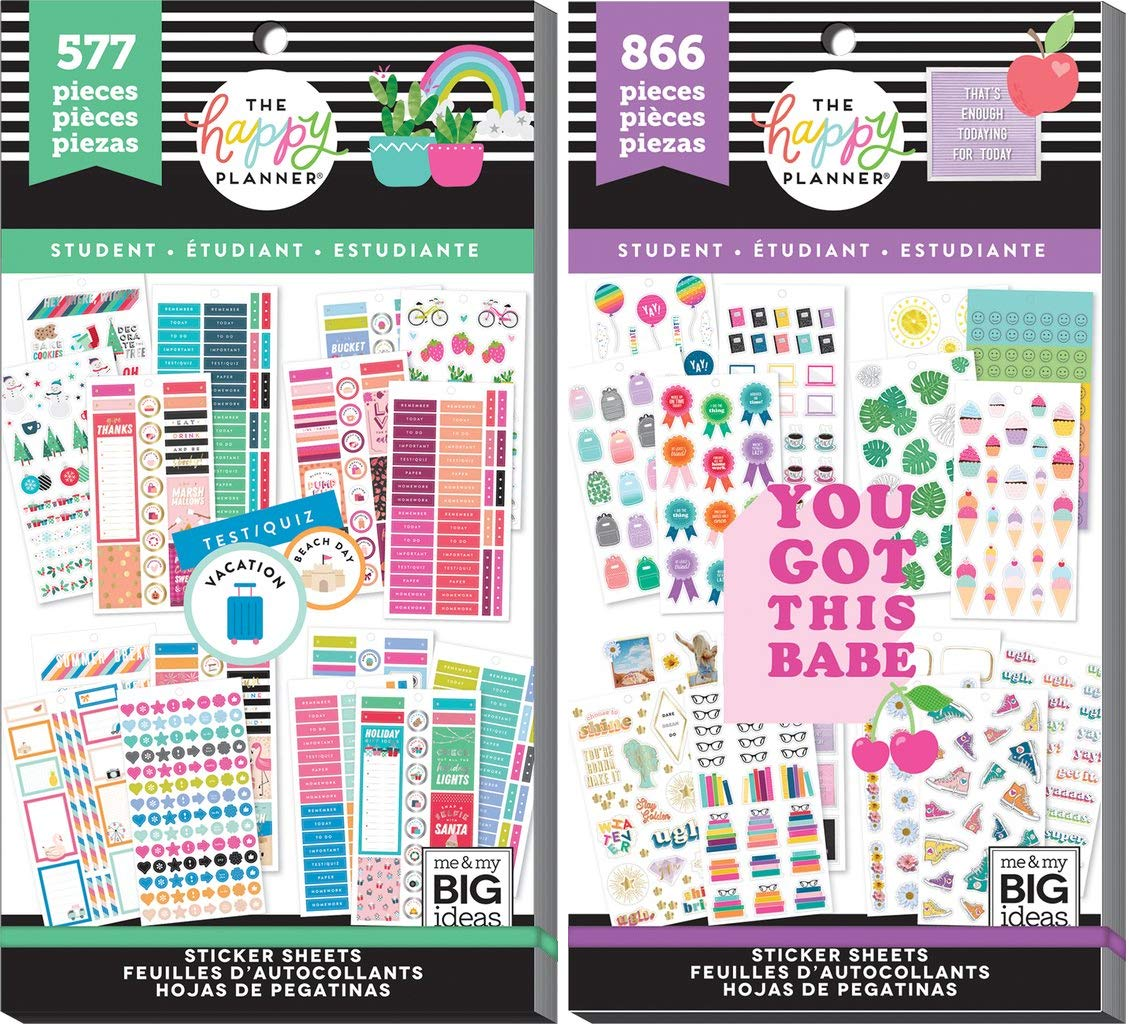 Classic Happy Planner Student Back to School 2019 - Student Seasonal (577) and Student Icons (866) - 2 Sticker Value Packs by MAMBI