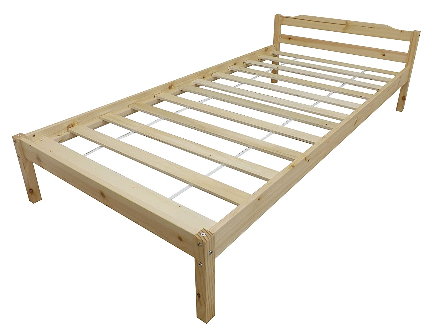 Kidsaw Pine Single Bed with Varnish, 65 x 97 x 198 cm, Natural K0020