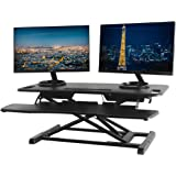 "TechOrbits Standing Desk Converter - 37"" Stand Up Desk Riser - Tabletop Sit Stand Desk Fits Dual Monitors - Two Tiered Height Adjustable Workstation with Removal Keyboard Tray"