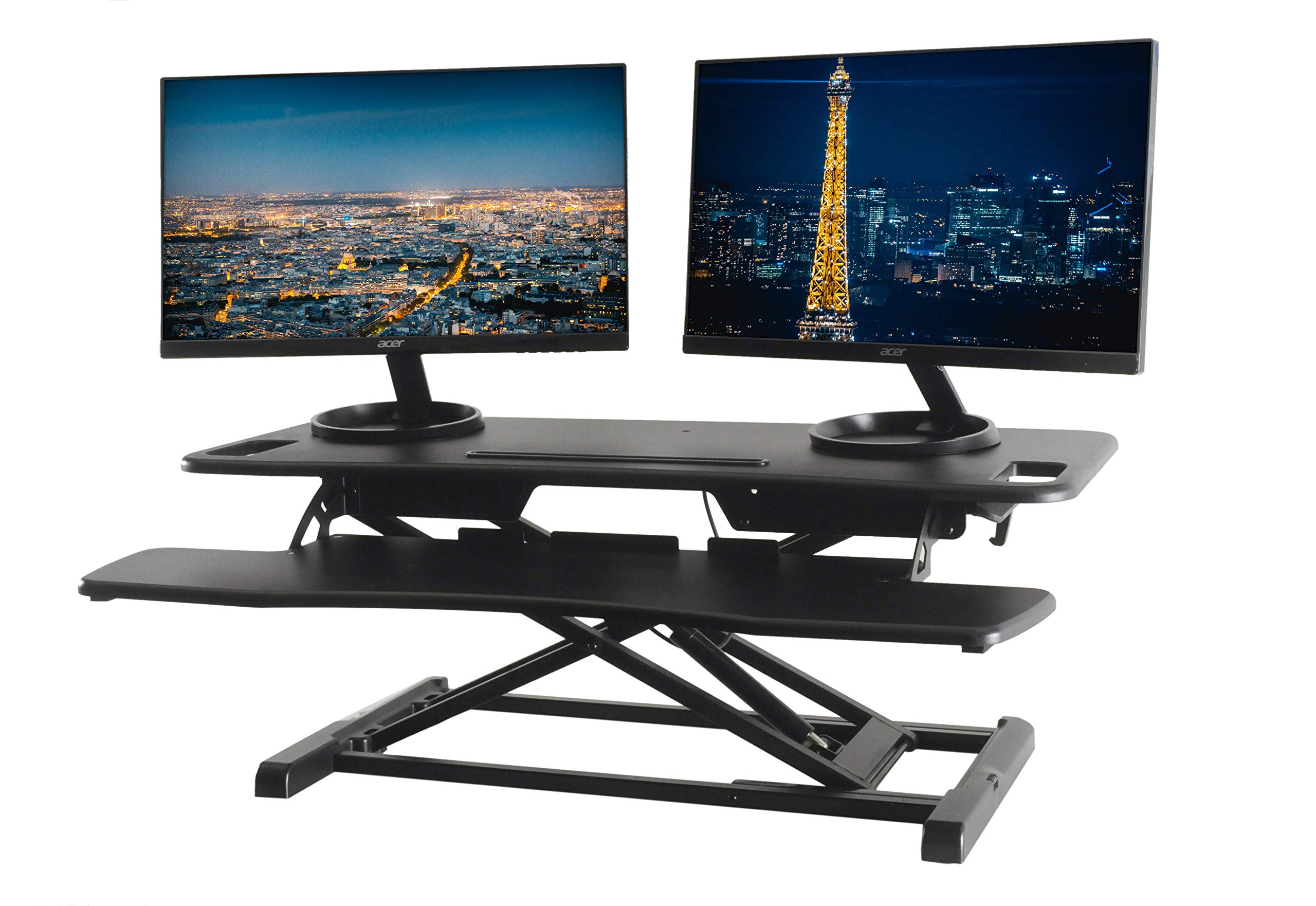 TechOrbits Standing Desk Converter - 37'' Stand Up Desk Riser - Tabletop Sit Stand Desk Fits Dual Monitors - Two Tiered Height Adjustable Workstation with Removal Keyboard Tray by TechOrbits