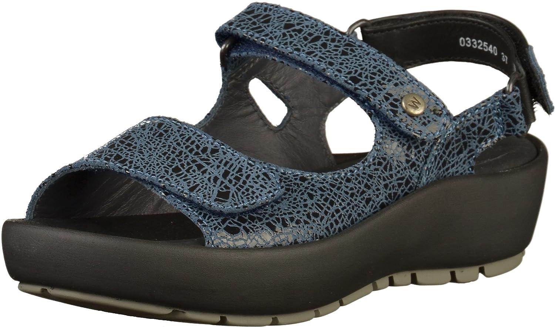 Wolky Womens 3325 Rio Leather Sandals 36 EU|Azul - azul