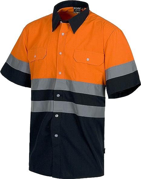 Work Team Camisa Manga Corta combinada con 2 Bolsos de Pecho y con Cintas Reflectantes. Hombre: Amazon.es: Ropa y accesorios
