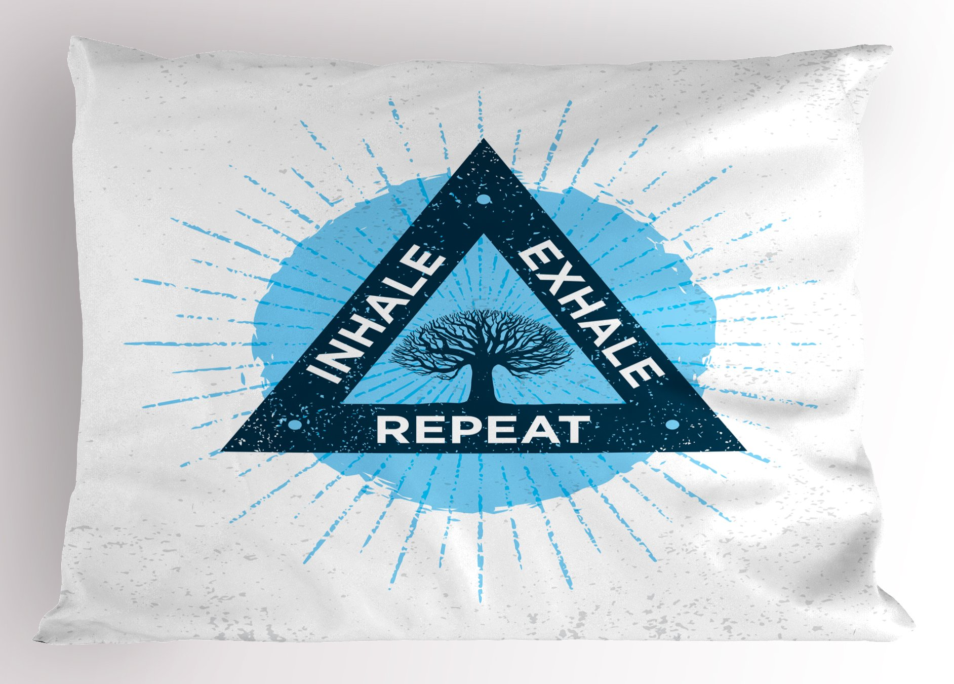 Ambesonne Inhale Exhale Pillow Sham, Spa Yoga Meditation in Triangle with Tree of Life Tranquil Graphic, Decorative Standard King Size Printed Pillowcase, 36 X 20 inches, Night Blue and White