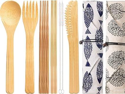Boao - Juego de 2 Cubiertos de bambú Reutilizables con Funda, Tenedores, Cuchillos y cucharas, cucharas y Pinceles, Juego de Cubiertos para Camping ...