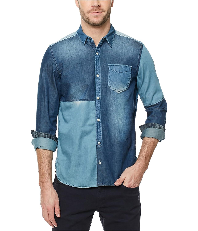29fa8d83f26 Top1  Buffalo David Bitton Mens Colorblocked Denim Button Up Shirt
